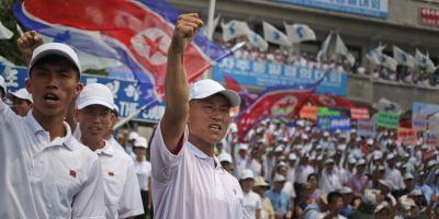 Coreea de Nord a tinut o mare demonstratie in Zona Demilitarizata, sub nasul americanilor aflati in Coreea de Sud